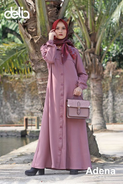 Baju Gamis Modern - Adena Dress - Delia Hijab Old Rose